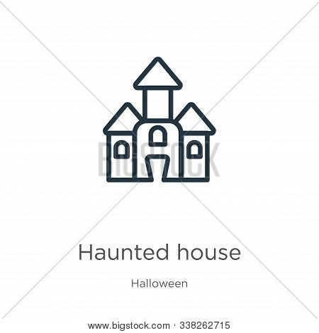 Haunted House Icon. Thin Linear Haunted House Outline Icon Isolated On White Background From Hallowe
