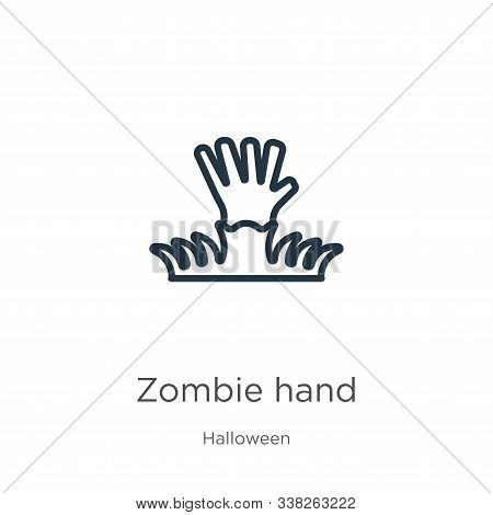 Zombie Hand Icon. Thin Linear Zombie Hand Outline Icon Isolated On White Background From Halloween C