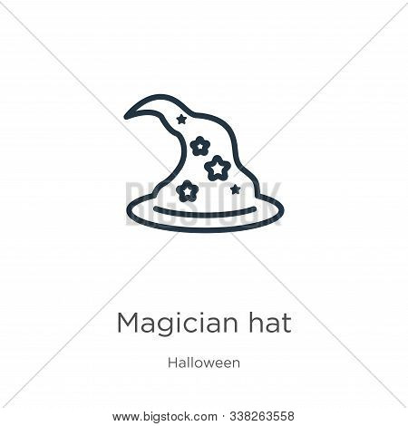 Magician Hat Icon. Thin Linear Magician Hat Outline Icon Isolated On White Background From Halloween