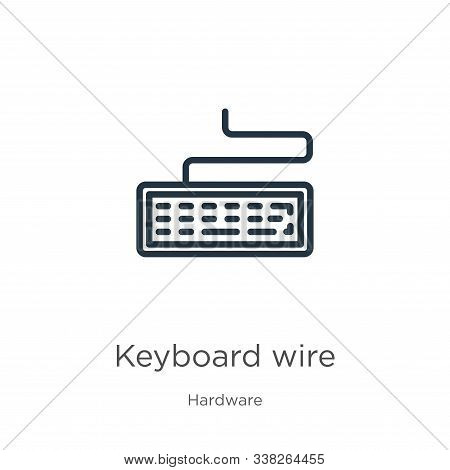 Keyboard Wire Icon. Thin Linear Keyboard Wire Outline Icon Isolated On White Background From Hardwar