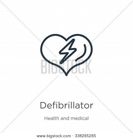 Defibrillator Icon. Thin Linear Defibrillator Outline Icon Isolated On White Background From Health