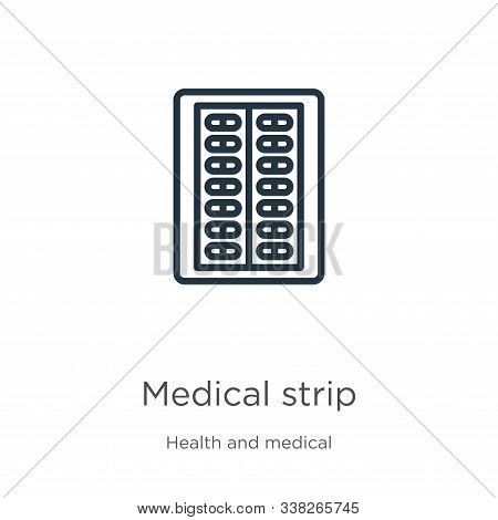 Medical Strip Icon. Thin Linear Medical Strip Outline Icon Isolated On White Background From Health