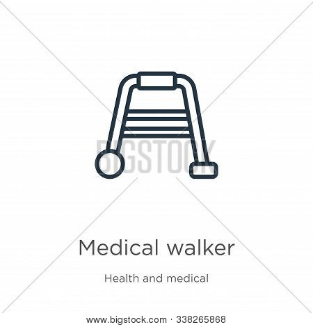 Medical Walker Icon. Thin Linear Medical Walker Outline Icon Isolated On White Background From Healt