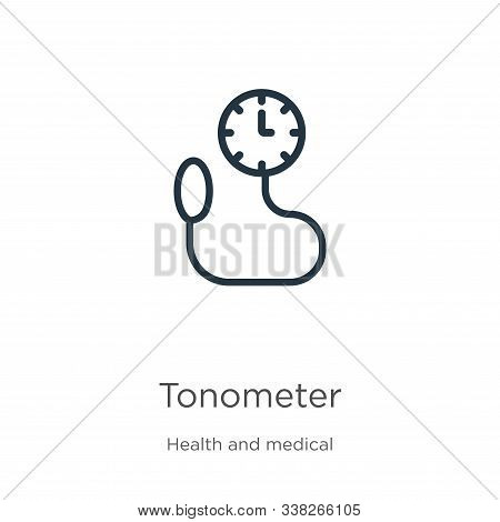 Tonometer Icon. Thin Linear Tonometer Outline Icon Isolated On White Background From Health And Medi