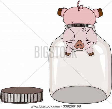 Scalable Vectorial Representing A Pig Head Stuck In Empty Glass Transparent Jar, Element For Design,