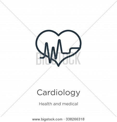 Cardiology Icon. Thin Linear Cardiology Outline Icon Isolated On White Background From Health And Me