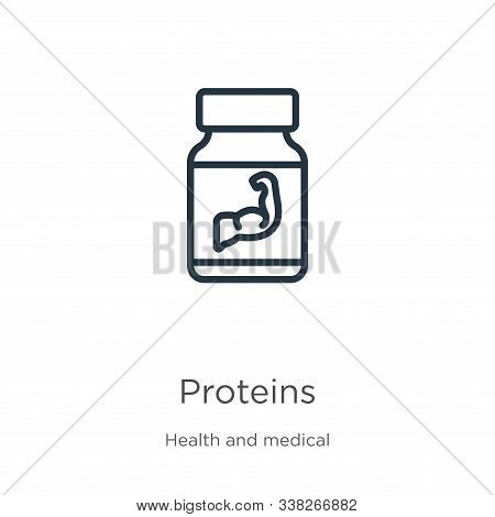 Proteins Icon. Thin Linear Proteins Outline Icon Isolated On White Background From Health Collection