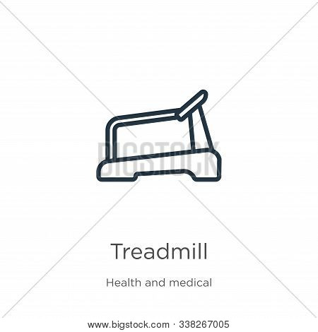 Treadmill Icon. Thin Linear Treadmill Outline Icon Isolated On White Background From Health Collecti