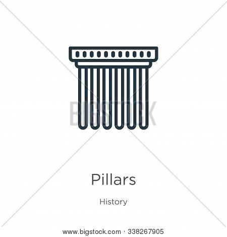 Pillars Icon. Thin Linear Pillars Outline Icon Isolated On White Background From History Collection.
