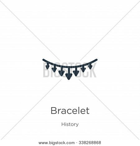 Bracelet Icon. Thin Linear Bracelet Outline Icon Isolated On White Background From History Collectio