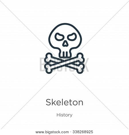 Skeleton Icon. Thin Linear Skeleton Outline Icon Isolated On White Background From History Collectio