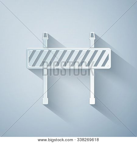 Paper Cut Road Barrier Icon Isolated On Grey Background. Fence Of Building Or Repair Works. Hurdle I