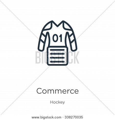 Commerce Icon. Thin Linear Commerce Outline Icon Isolated On White Background From Hockey Collection