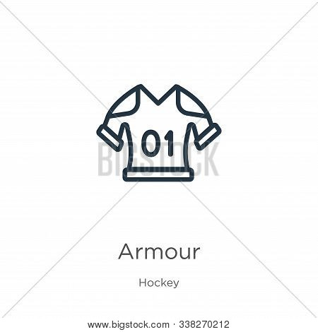 Armour Icon. Thin Linear Armour Outline Icon Isolated On White Background From Hockey Collection. Li
