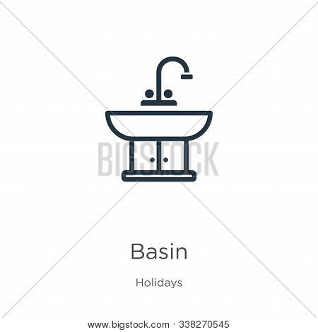 Basin Icon. Thin Linear Basin Outline Icon Isolated On White Background From Holidays Collection. Li