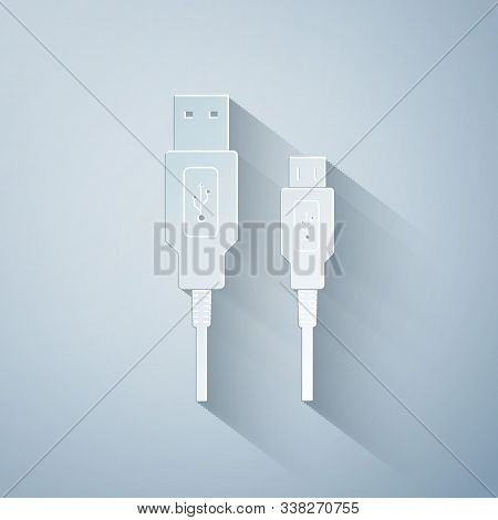 Paper Cut Usb Micro Cables Icon On Grey Background. Connectors And Sockets For Pc And Mobile Devices
