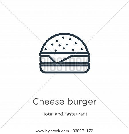 Cheese Burger Icon. Thin Linear Cheese Burger Outline Icon Isolated On White Background From Hotel A
