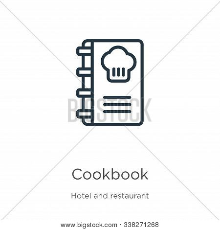 Cookbook Icon. Thin Linear Cookbook Outline Icon Isolated On White Background From Hotel And Restaur