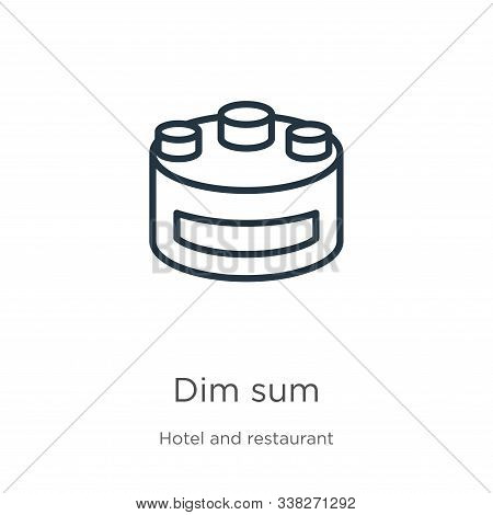 Dim Sum Icon. Thin Linear Dim Sum Outline Icon Isolated On White Background From Hotel And Restauran