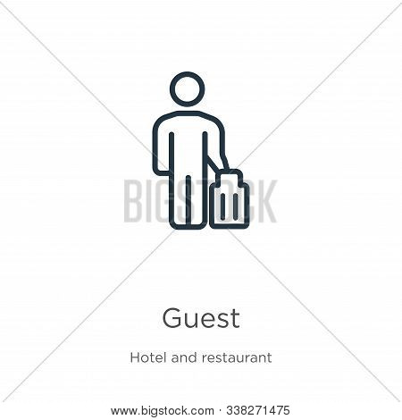 Guest Icon. Thin Linear Guest Outline Icon Isolated On White Background From Hotel And Restaurant Co