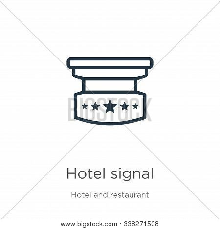 Hotel Signal Icon. Thin Linear Hotel Signal Outline Icon Isolated On White Background From Hotel And