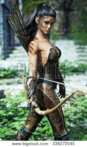 Fantasy Elf Female Wearing Exotic Armor And Equipped With A Bow . 3d Rendering