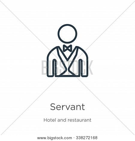 Servant Icon. Thin Linear Servant Outline Icon Isolated On White Background From Hotel And Restauran
