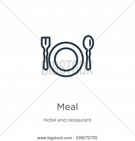 Meal Icon. Thin Linear Meal Outline Icon Isolated On White Background From Hotel Collection. Line Ve