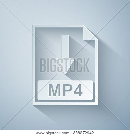 Paper Cut Mp4 File Document Icon. Download Mp4 Button Icon Isolated On Grey Background. Paper Art St