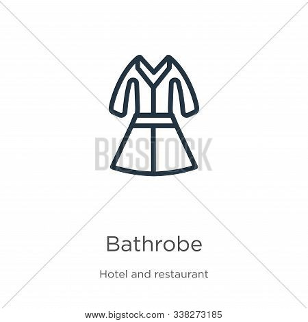 Bathrobe Icon. Thin Linear Bathrobe Outline Icon Isolated On White Background From Hotel Collection.