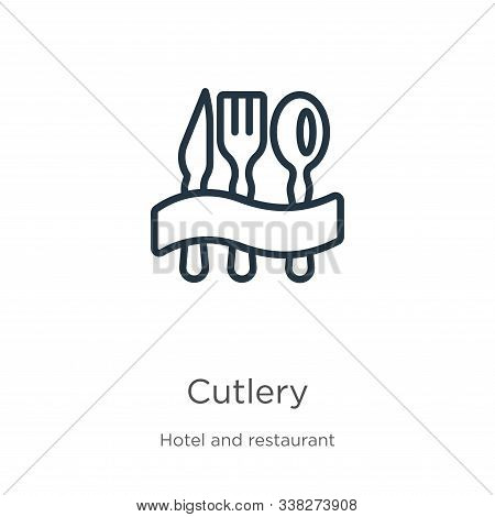 Cutlery Icon. Thin Linear Cutlery Outline Icon Isolated On White Background From Hotel Collection. L