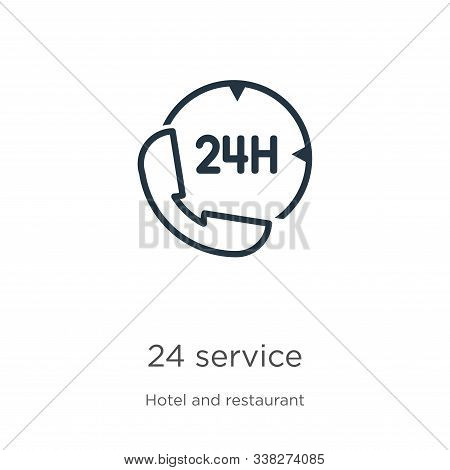 24 Service Icon. Thin Linear 24 Service Outline Icon Isolated On White Background From Hotel Collect