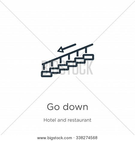 Go Down Icon. Thin Linear Go Down Outline Icon Isolated On White Background From Accommodation Colle