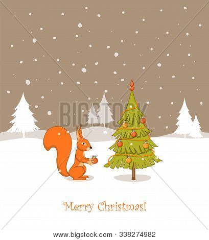 Christmas Card With Handwritten Text Merry Christmas, Cute Cartoon Squirrel Decorating Fir Tree With