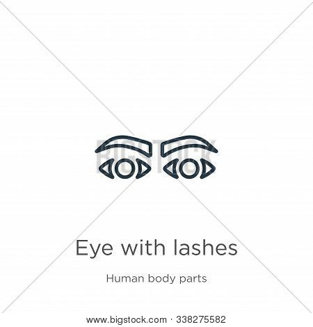 Eye With Lashes Icon. Thin Linear Eye With Lashes Outline Icon Isolated On White Background From Hum