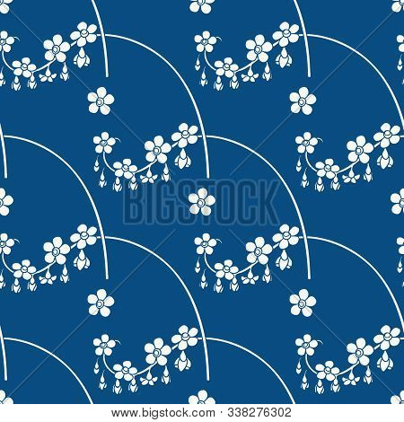 Floral Seamless Pattern With White Flowers On Classic Blue Background. Vector Illustration