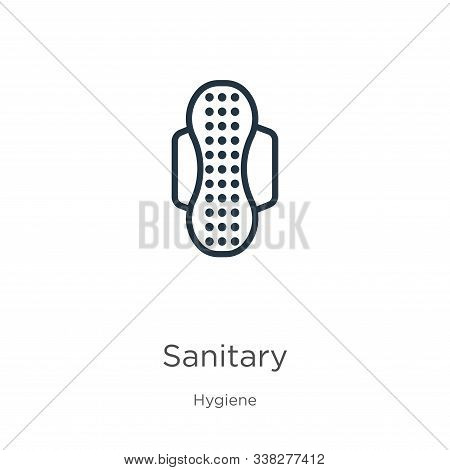 Sanitary Icon. Thin Linear Sanitary Outline Icon Isolated On White Background From Hygiene Collectio