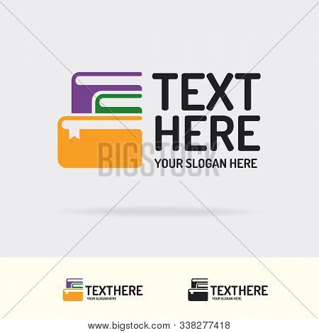 Books Vector Logo Trendy Color Style Consisting Of Books Isolated On Background For Bookshop, Store,