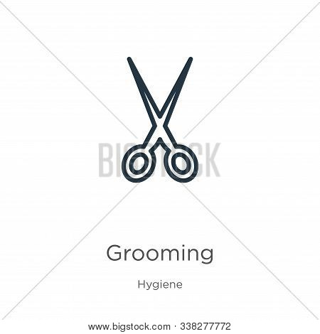 Grooming Icon. Thin Linear Grooming Outline Icon Isolated On White Background From Hygiene Collectio