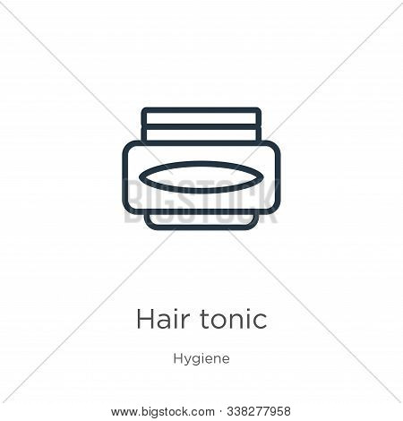 Hair Tonic Icon. Thin Linear Hair Tonic Outline Icon Isolated On White Background From Hygiene Colle