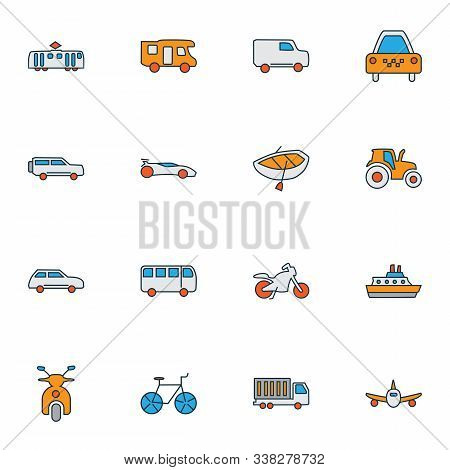 Vehicle Icons Colored Line Set With Bicycle, Scooter, Campervan And Other Automobile Elements. Isola