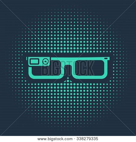Green Smart Glasses Mounted On Spectacles Icon Isolated On Blue Background. Wearable Electronics Sma