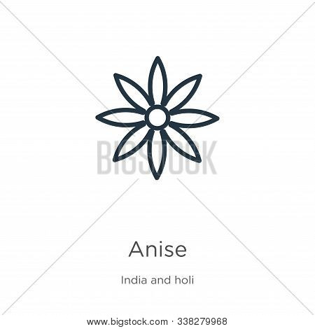 Anise Icon. Thin Linear Anise Outline Icon Isolated On White Background From India Collection. Line
