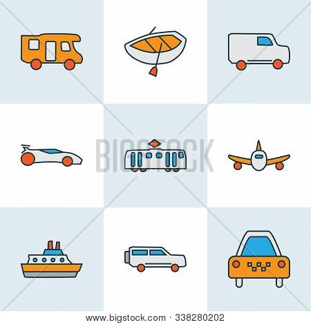 Transit Icons Colored Line Set With Boat, Suv, Cruise And Other Automobile Elements. Isolated Vector
