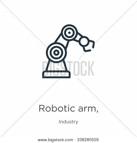 Robotic Arm, Icon. Thin Linear Robotic Arm, Outline Icon Isolated On White Background From Industry