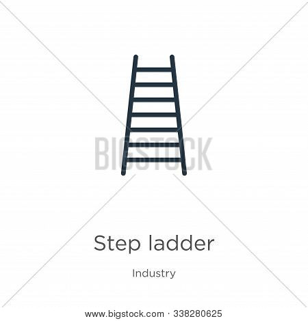 Step Ladder Icon. Thin Linear Step Ladder Outline Icon Isolated On White Background From Industry Co