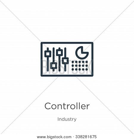 Controller Icon. Thin Linear Controller Outline Icon Isolated On White Background From Industry Coll
