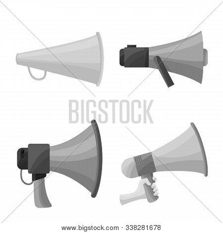 Vector Illustration Of Bullhorn And Propaganda Icon. Set Of Bullhorn And Voice Vector Icon For Stock