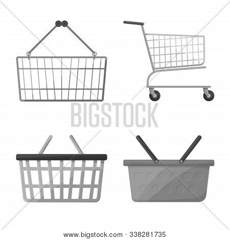 Vector Design Of Cart And Market Sign. Collection Of Cart And Pushcart Vector Icon For Stock.