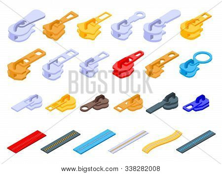 Zipper Icons Set. Isometric Set Of Zipper Vector Icons For Web Design Isolated On White Background